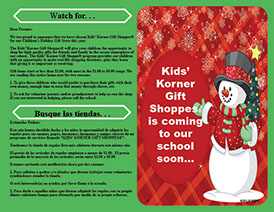 "Photo of a Bi-Lingual Kids' Korner""Watch For"" Flyer, which is supplied for each student in the school"